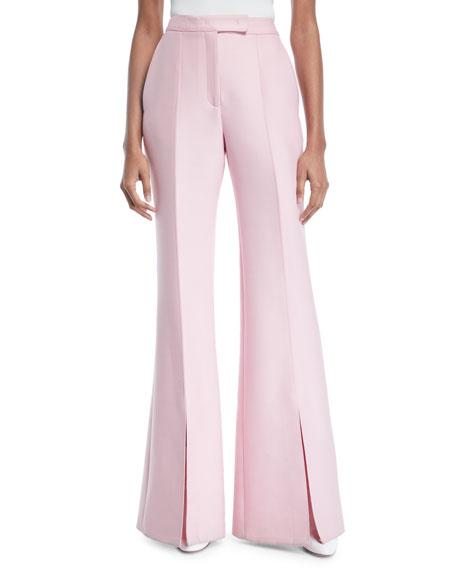 Gabriela Hearst Chavela Flared-Leg Wool-Silk Pant w/ Slit Cuff