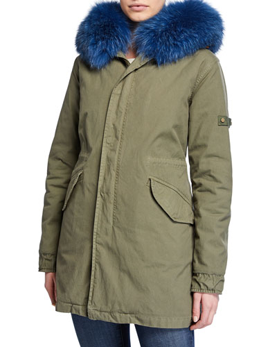 New York Canvas Parka Coat with Removable Fox Fur