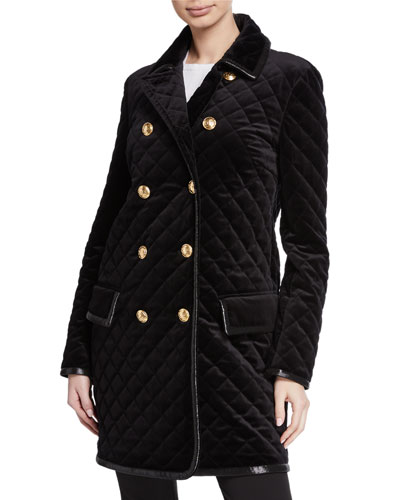 Quilted Velvet Double-Breasted Caban Coat