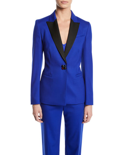 Jewel-Snap Satin-Lapel Tuxedo Jacket