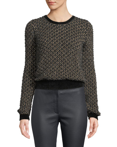 Honeycomb Metallic-Thread Pullover Sweater w/ Chenille Trim