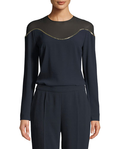 Illusion-Neck Long-Sleeve Crepe Top w/ Beading Detail