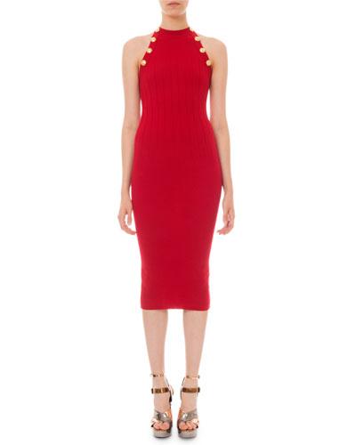 High-Neck Ribbed Bodycon Dress