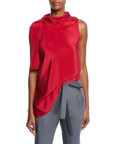 Travistock Sleeveless Asymmetric Draped Silk Blouse