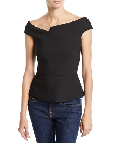 Elmswell Asymmetric Off-The-Shoulder Peplum Blouse