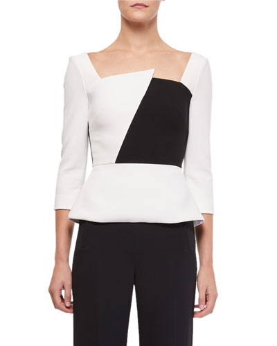Houghton 3/4-Sleeve Asymmetric-Neck Colorblock Blouse