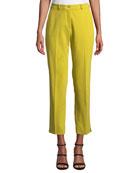 Etro Mid-Rise Straight-Leg Stretch-Cotton Capri Trousers