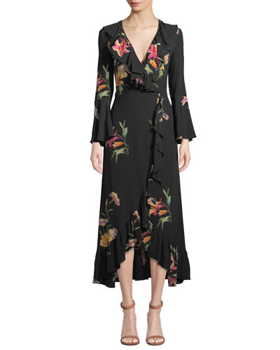 d8dae38ca6e Quick Look. Etro · Cascading Ruffled Floral-Print Silk Wrap Dress.  Available in Black