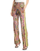 Etro Racing-Striped Printed Jersey Pants