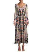 Etro Long-Sleeve Deco-Paisley V-Neck Midi Dress