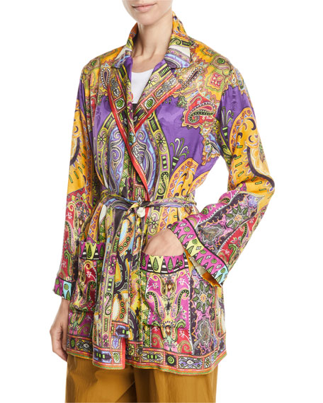 Etro Paisley-Jacquard Open-Front Blazer