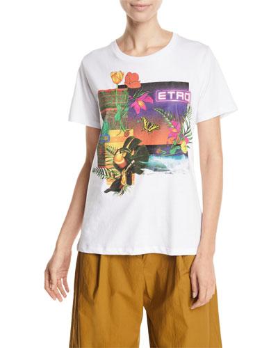 Tropical-Floral Neon Cactus Logo Tee