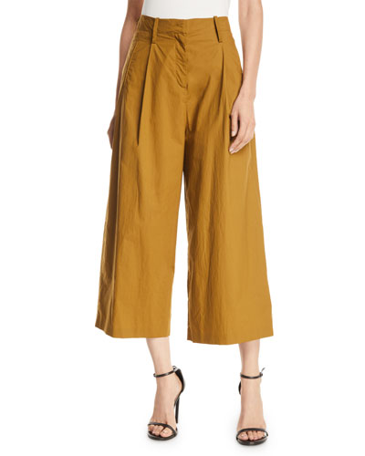 High-Rise Pleated-Cotton Culottes