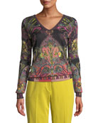 Etro V-Neck Metallic Pop Art Paisley Sweater and