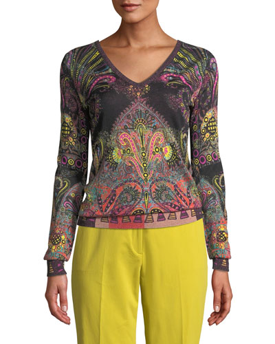 V-Neck Metallic Pop Art Paisley Sweater