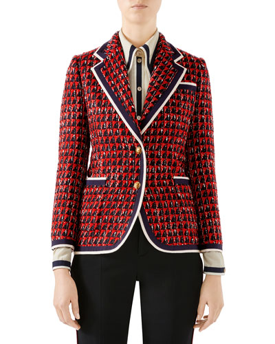 Geometric Tweed Blazer Jacket