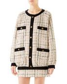 Gucci Oversized Tweed Bomber Jacket