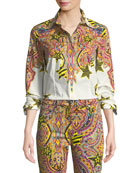 Etro Bright Graffiti Pop Art Engineered Cotton Blouse