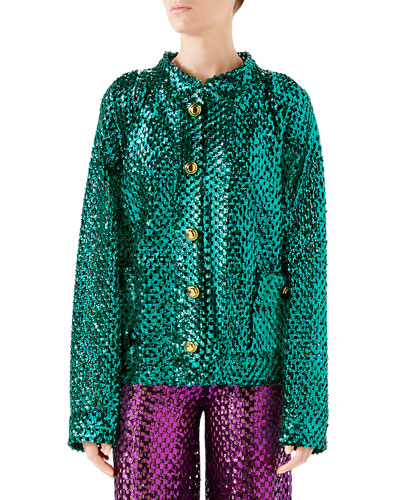 Sequined Wool-Mesh Cardigan