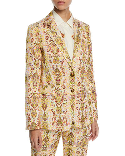 Paisley Jacquard Blazer Jacket