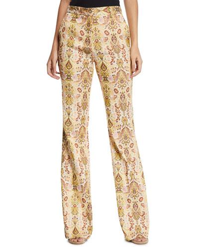 Floral Paisley Jacquard Flare Pants
