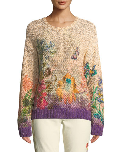 Ombre Floral Chunky-Popcorn Knit Sweater