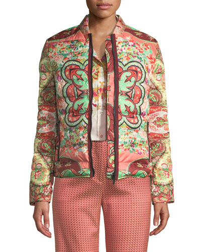 Garden Floral Paisley Quilted Zip-Front Jacket