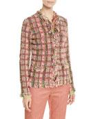 Etro Fringe-Trim Checkered-Tweed Jacket and Matching Items &
