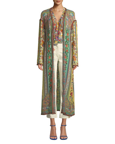 Long Ribbon-Trimmed Floral Silk Coat