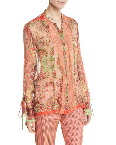 Lace-Trim Paisley-Print Chiffon Button-Front Blouse