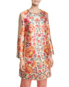 Etro 3/4-Sleeve Floral-Deco Jacquard Coat and Matching Items