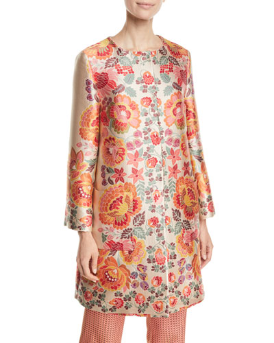 e8f1b56cf61 Quick Look. Etro · 3 4-Sleeve Floral-Deco Jacquard Coat. Available in White