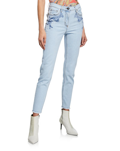 Scroll Detail Fringe-Hem Jeans