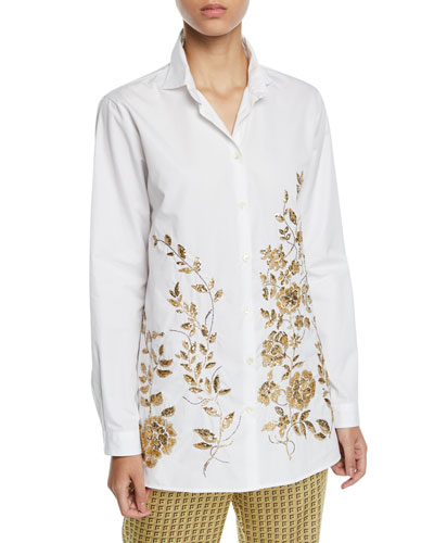 Metallic-Embroidered Button-Front Tunic