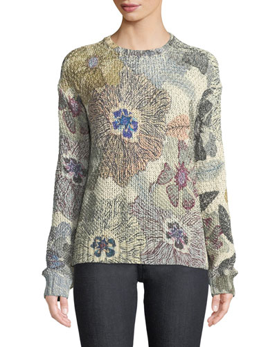 Shimmer Floral-Knit Sweater
