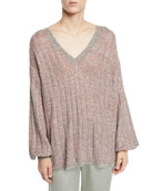 Etro V-Neck Tie-Back Loose-Knit Metallic Sweater and Matching