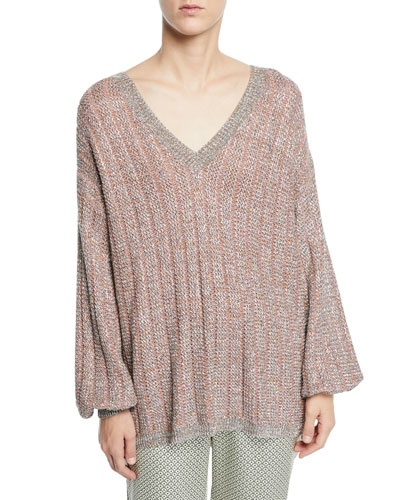 V-Neck Tie-Back Loose-Knit Metallic Sweater