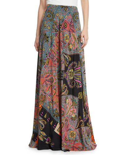 Pop-Art Print Silk Maxi Skirt