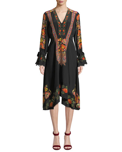Lace-Trim Engineered Floral-Print Midi Dress