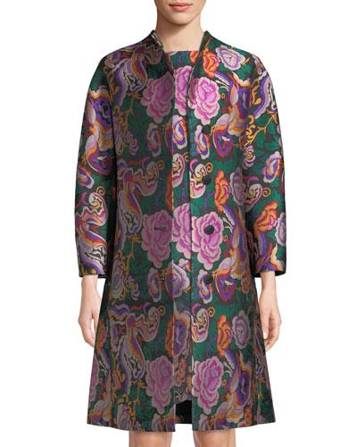 Cabbage-Rose Jacquard Topper Coat