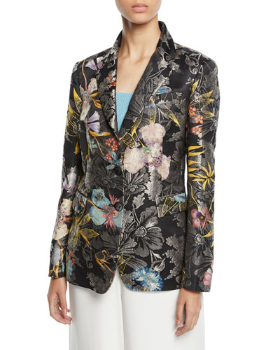 Metallic Floral-Jacquard Two-Button Blazer