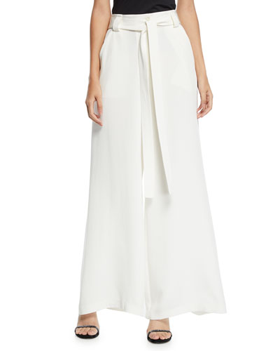 Draped Tie-Waist Wide-Leg Silk Pants