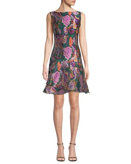 Etro Sleeveless Cabbage-Rose Jacquard Dress