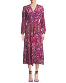 Etro Long-Sleeve Floral Print Midi Wrap Dress