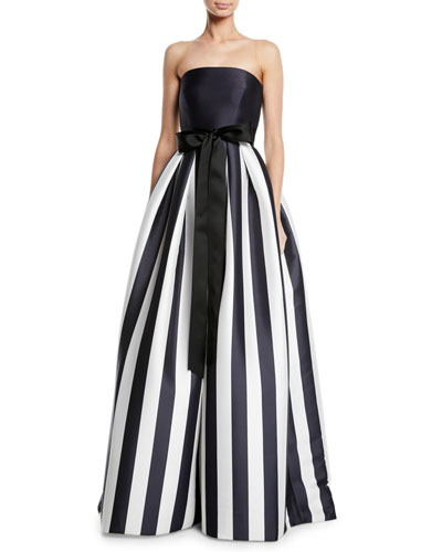 f74fb4238ab21 Quick Look. Monique Lhuillier · Striped Mikado Bow-Waist Strapless Ball Gown  ...