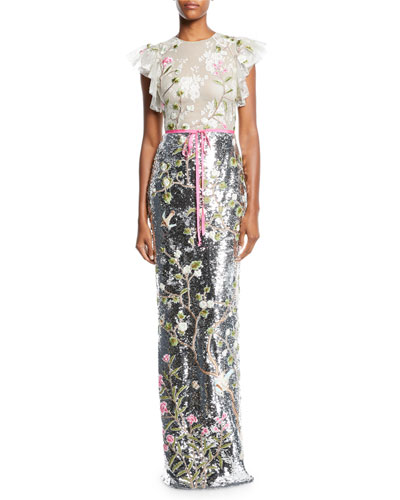 Ruffled Cap-Sleeve Floral-Embroidered Tulle Bodice Sequin Column Gown