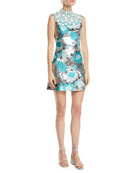 Michael Kors Collection Embellished-Bib Sleeveless Metallic