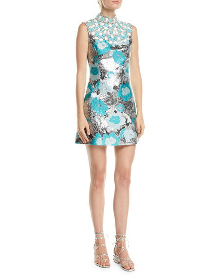 Michael Kors Collection Embellished-Bib Sleeveless Metallic Floral-Brocade Short Dress