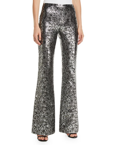 High-Rise Metallic Floral Jacquard Flare Pants