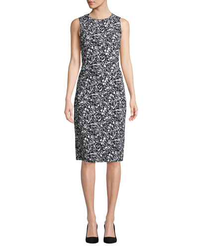 Sleeveless Crewneck Floral-Print Stretch-Cady Sheath Dress